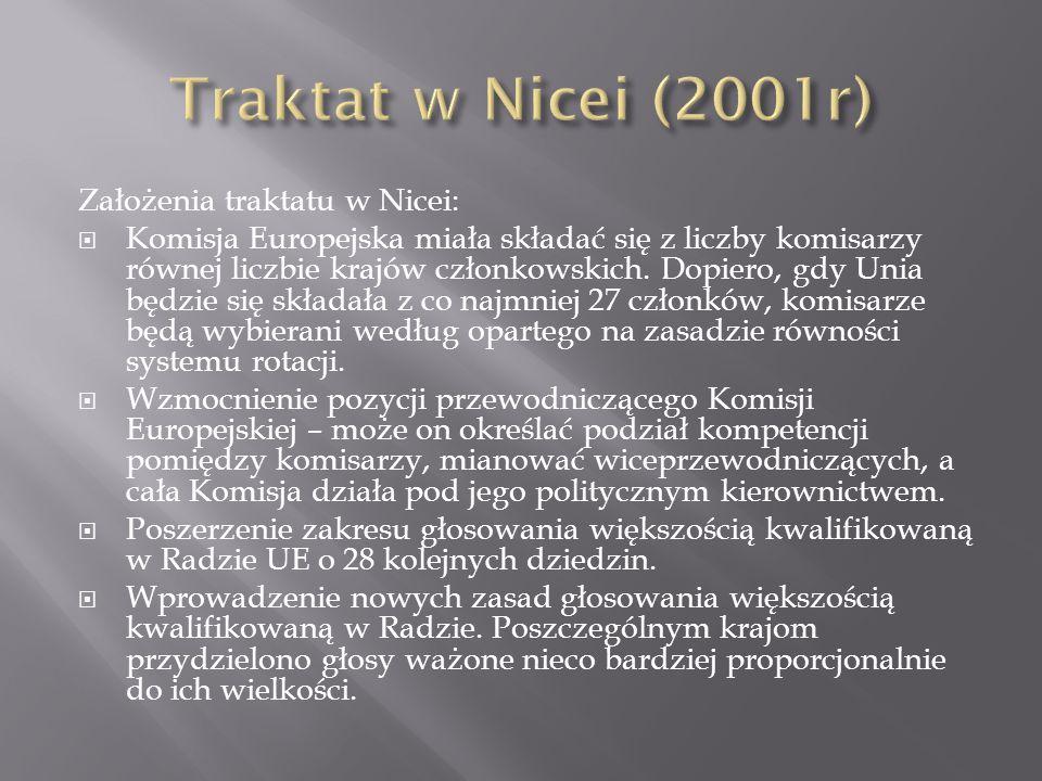 Traktat w Nicei (2001r) Założenia traktatu w Nicei: