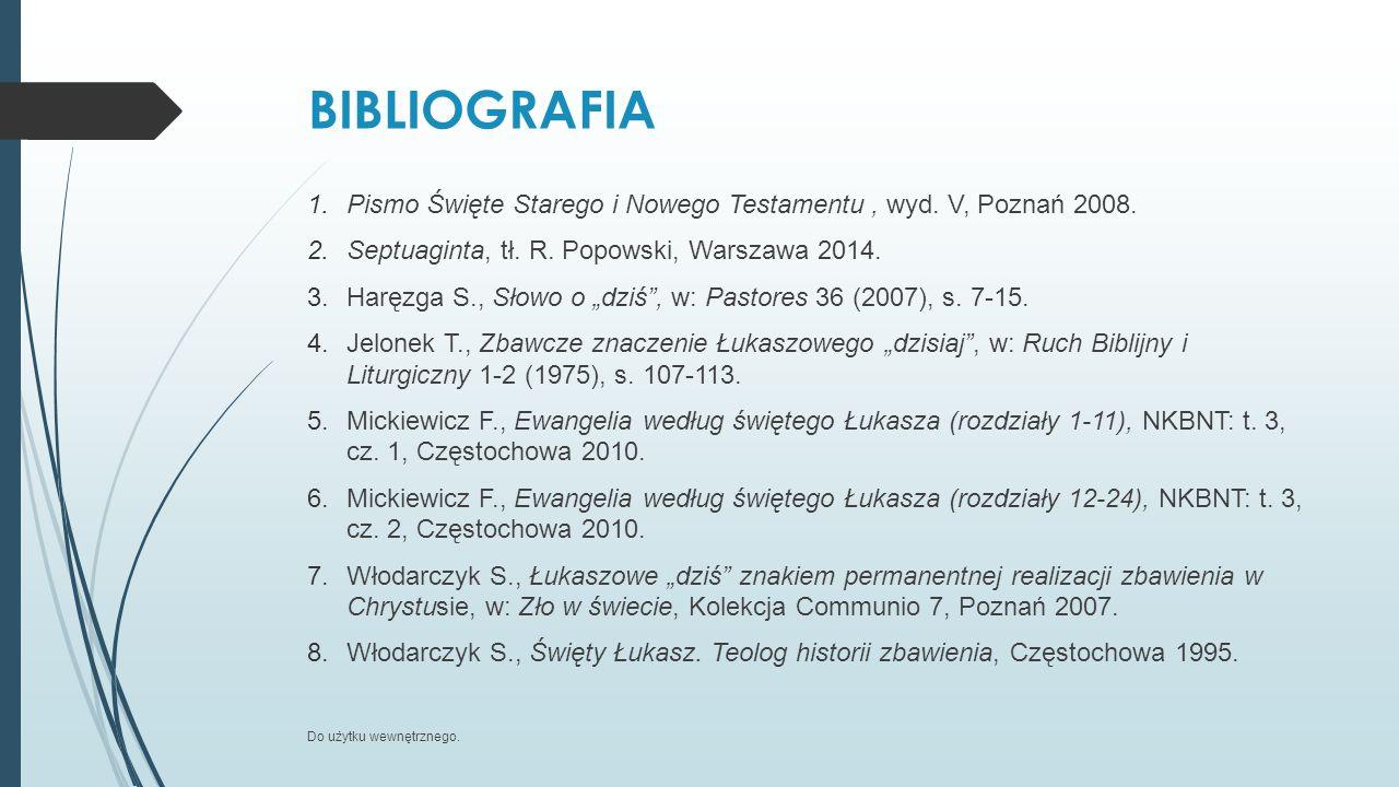 BIBLIOGRAFIA Pismo Święte Starego i Nowego Testamentu , wyd. V, Poznań 2008. Septuaginta, tł. R. Popowski, Warszawa 2014.