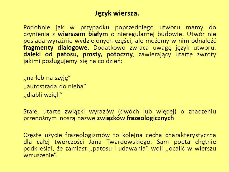 Język wiersza.