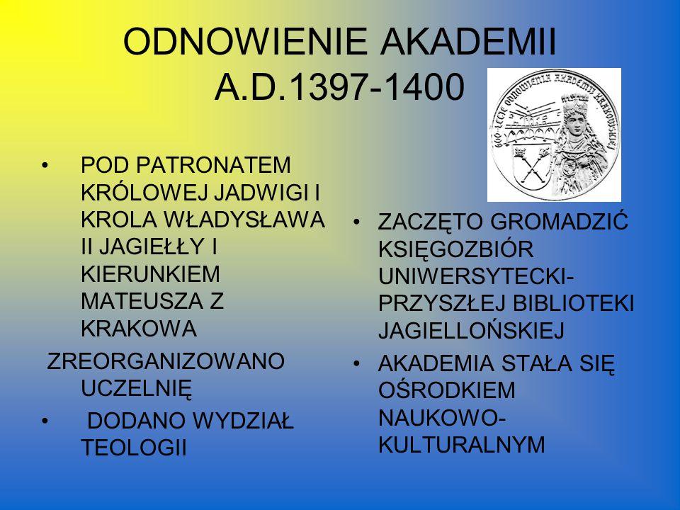 ODNOWIENIE AKADEMII A.D.1397-1400
