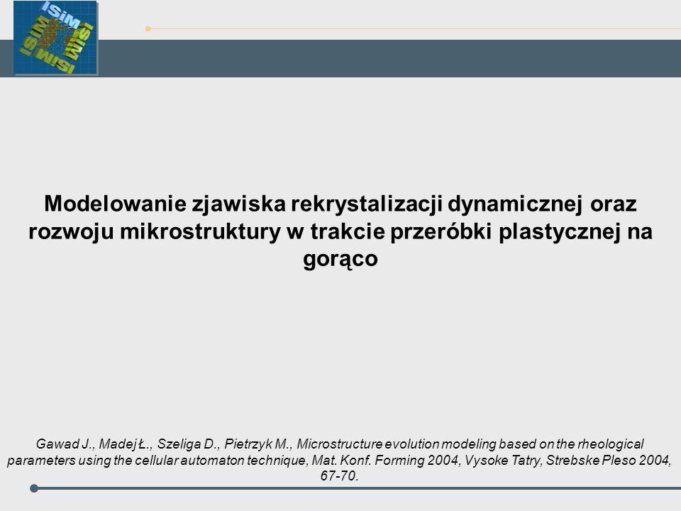 Modelowanie zjawiska rekrystalizacji dynamicznej oraz rozwoju mikrostruktury w trakcie przeróbki plastycznej na gorąco