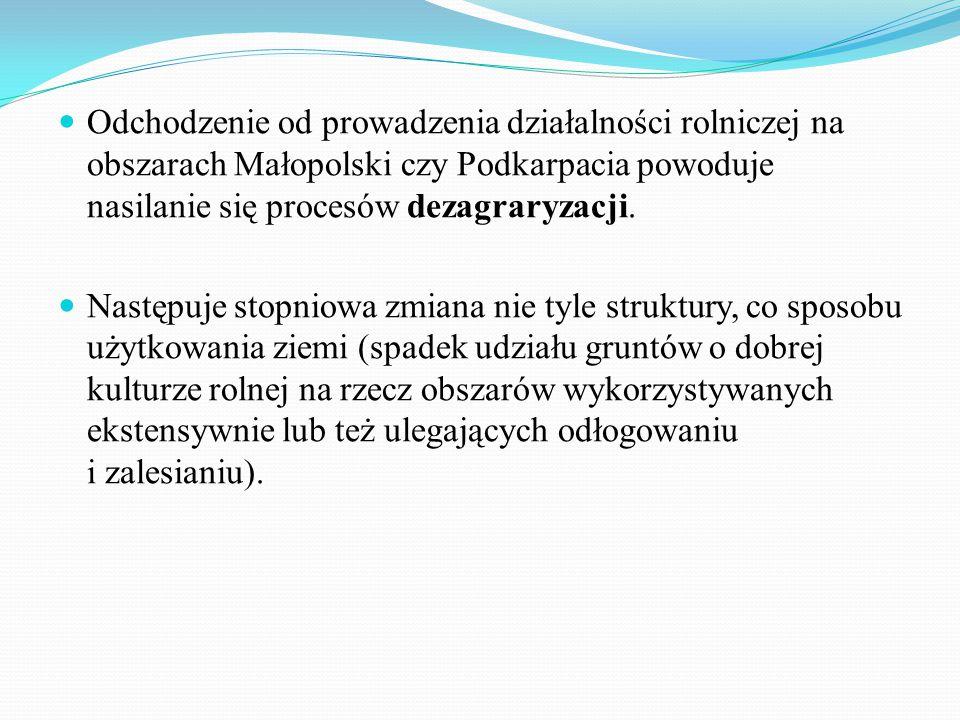 Odchodzenie od prowadzenia działalności rolniczej na obszarach Małopolski czy Podkarpacia powoduje nasilanie się procesów dezagraryzacji.
