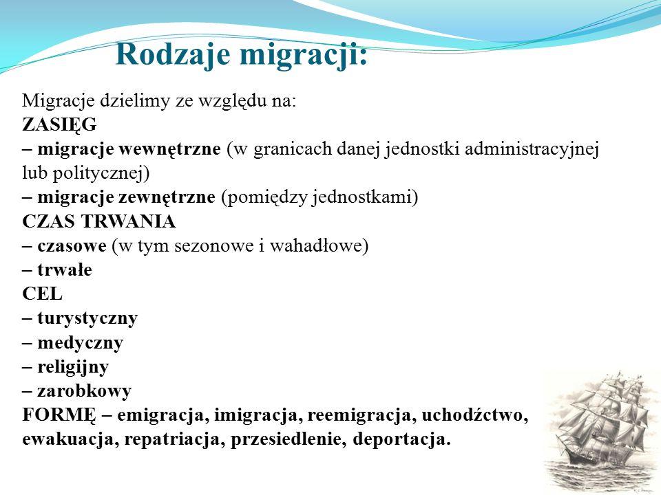 Rodzaje migracji: Migracje dzielimy ze względu na: ZASIĘG