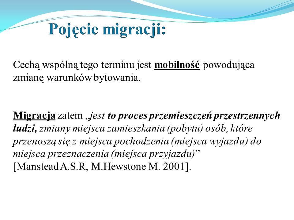 Pojęcie migracji: Cechą wspólną tego terminu jest mobilność powodująca zmianę warunków bytowania.