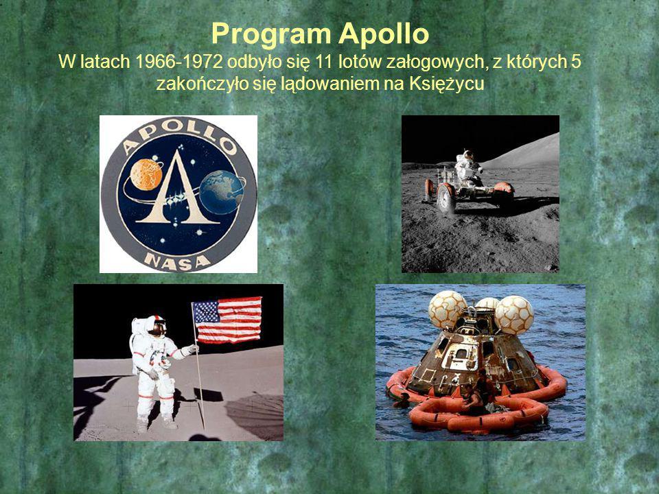 Program Apollo W latach 1966-1972 odbyło się 11 lotów załogowych, z których 5 zakończyło się lądowaniem na Księżycu