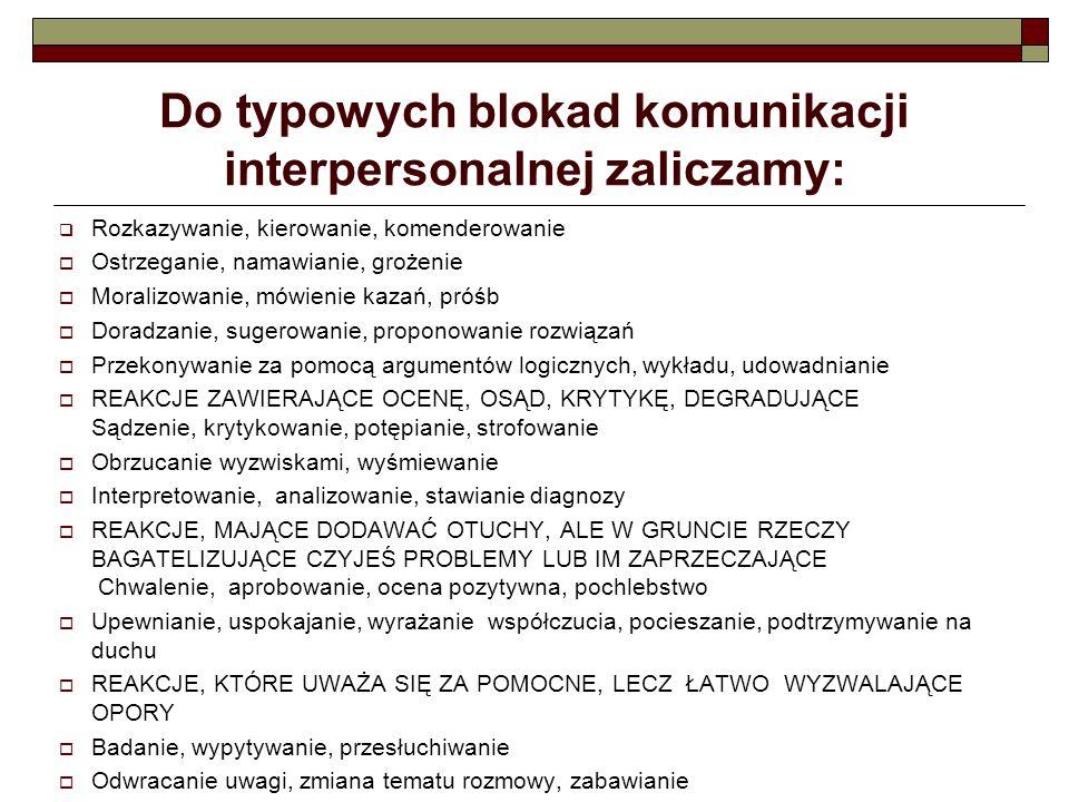 Do typowych blokad komunikacji interpersonalnej zaliczamy: