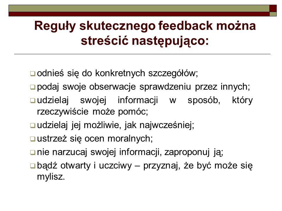 Reguły skutecznego feedback można streścić następująco: