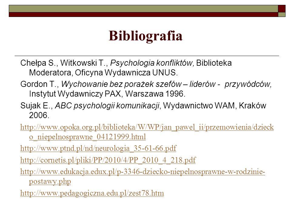 Bibliografia Chełpa S., Witkowski T., Psychologia konfliktów, Biblioteka Moderatora, Oficyna Wydawnicza UNUS.