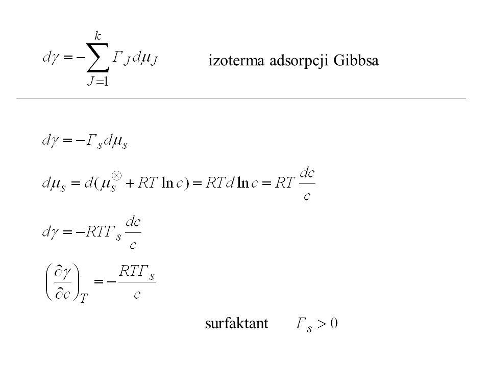 izoterma adsorpcji Gibbsa