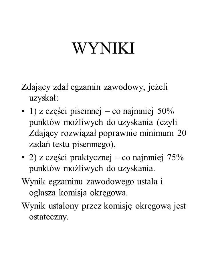 WYNIKI Zdający zdał egzamin zawodowy, jeżeli uzyskał: