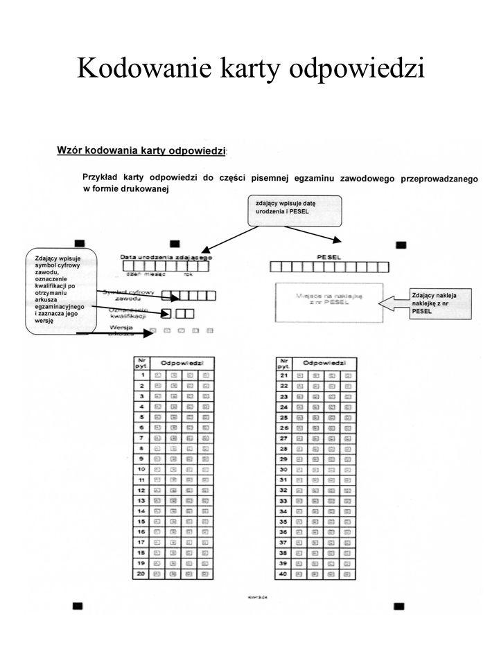 Kodowanie karty odpowiedzi