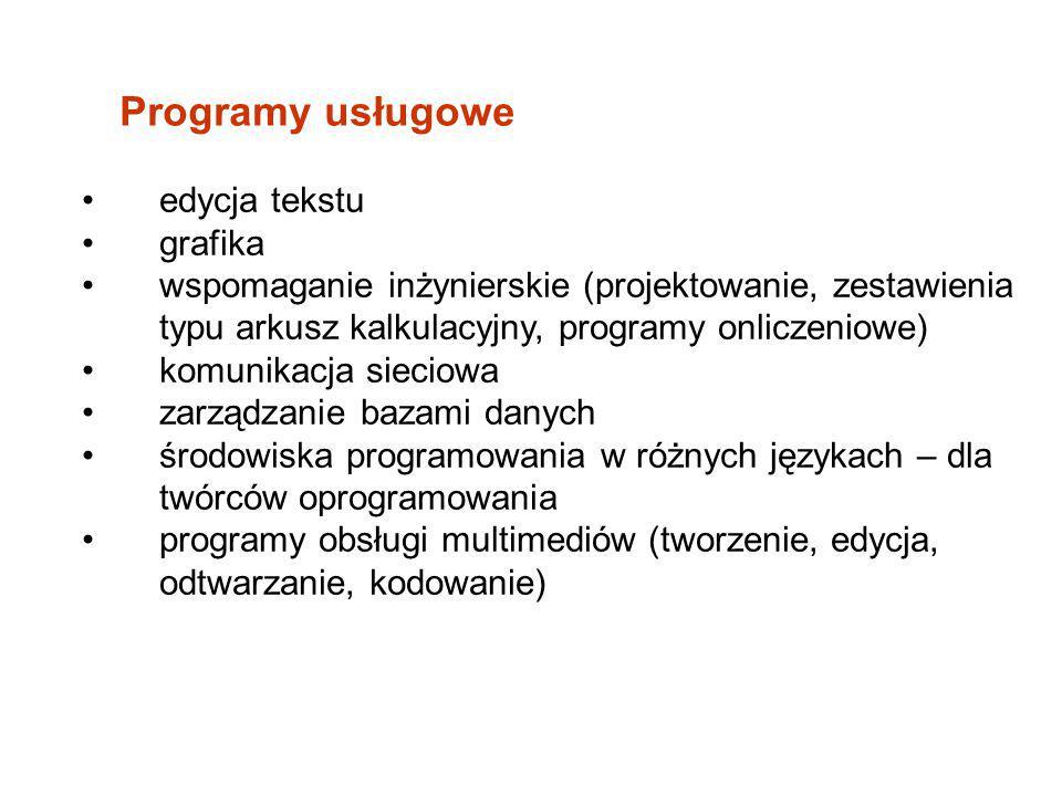 Programy usługowe edycja tekstu grafika
