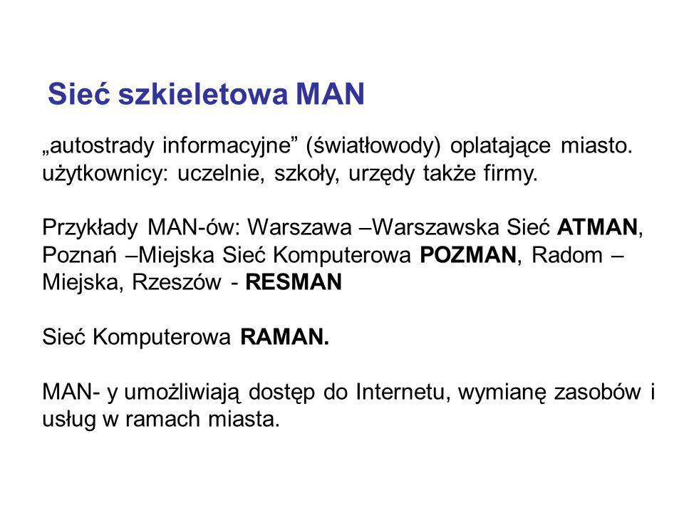 """Sieć szkieletowa MAN """"autostrady informacyjne (światłowody) oplatające miasto. użytkownicy: uczelnie, szkoły, urzędy także firmy."""