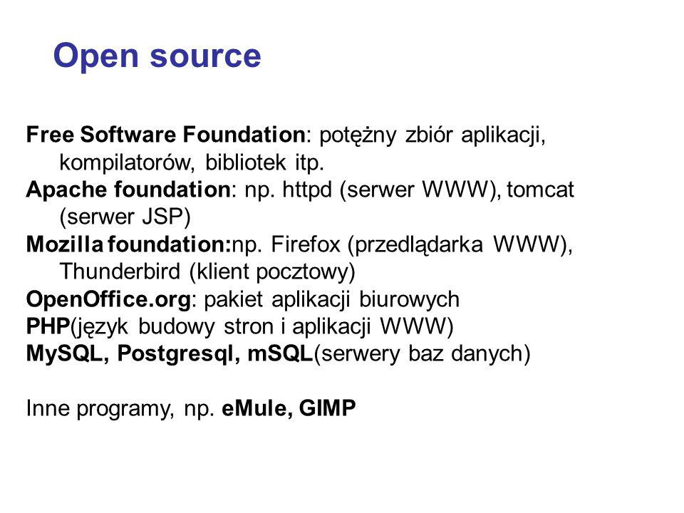 Open source Free Software Foundation: potężny zbiór aplikacji, kompilatorów, bibliotek itp.