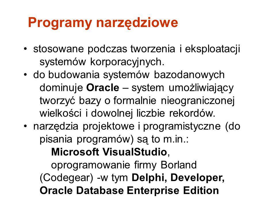 Programy narzędziowe • stosowane podczas tworzenia i eksploatacji systemów korporacyjnych.