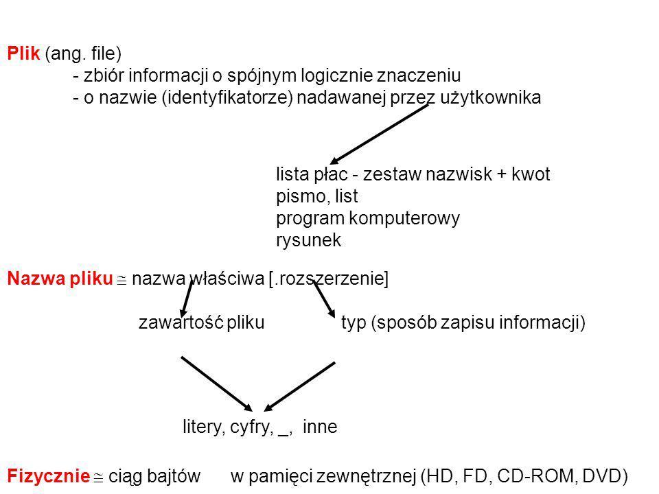 Plik (ang. file) - zbiór informacji o spójnym logicznie znaczeniu. - o nazwie (identyfikatorze) nadawanej przez użytkownika.