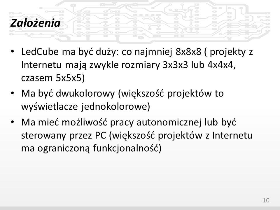 Założenia LedCube ma być duży: co najmniej 8x8x8 ( projekty z Internetu mają zwykle rozmiary 3x3x3 lub 4x4x4, czasem 5x5x5)
