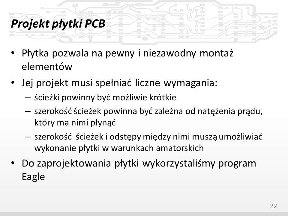 Projekt płytki PCB Płytka pozwala na pewny i niezawodny montaż elementów. Jej projekt musi spełniać liczne wymagania: