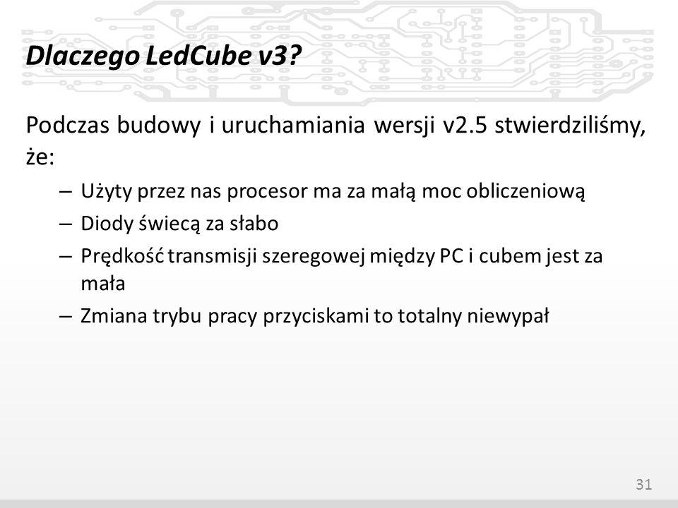 Dlaczego LedCube v3 Podczas budowy i uruchamiania wersji v2.5 stwierdziliśmy, że: Użyty przez nas procesor ma za małą moc obliczeniową.