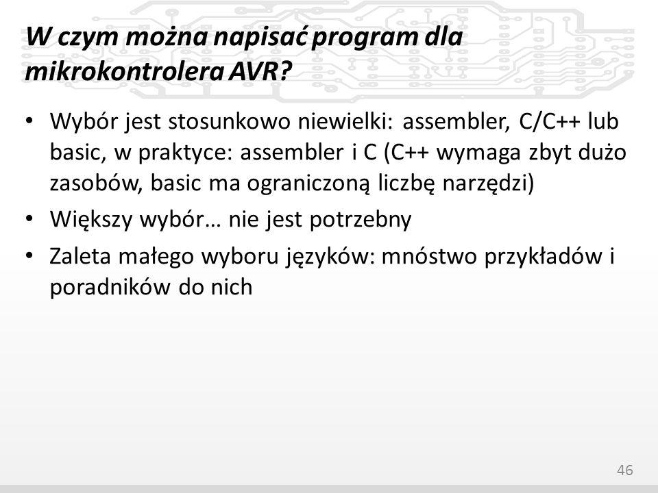 W czym można napisać program dla mikrokontrolera AVR