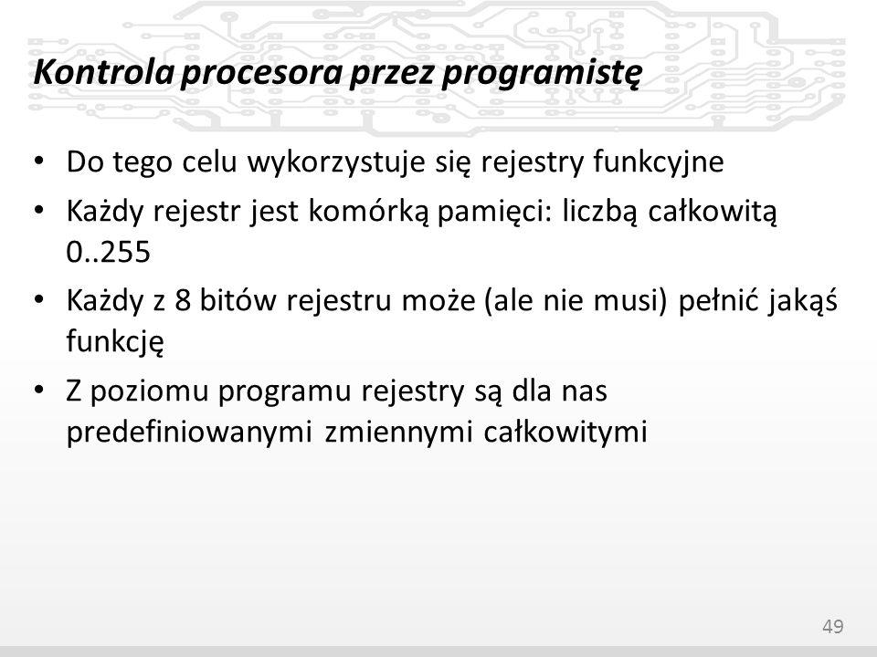 Kontrola procesora przez programistę