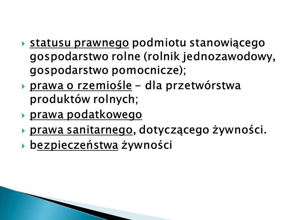 statusu prawnego podmiotu stanowiącego gospodarstwo rolne (rolnik jednozawodowy, gospodarstwo pomocnicze);