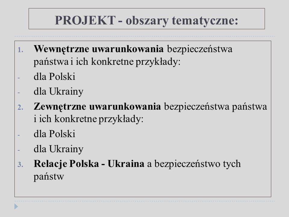 PROJEKT - obszary tematyczne: