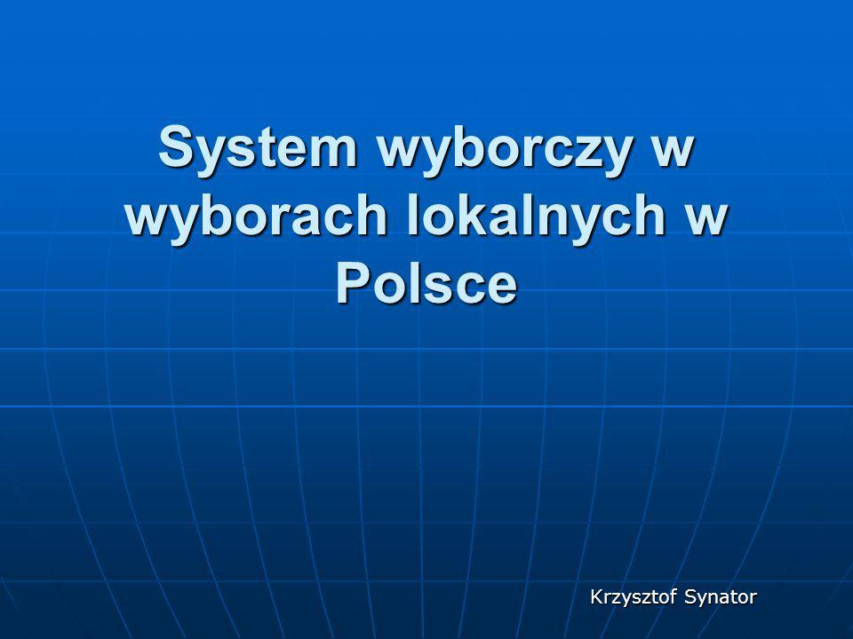 System wyborczy w wyborach lokalnych w Polsce