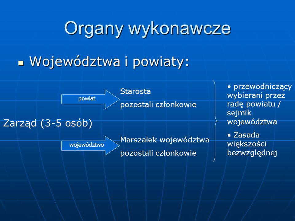 Organy wykonawcze Województwa i powiaty: Zarząd (3-5 osób)