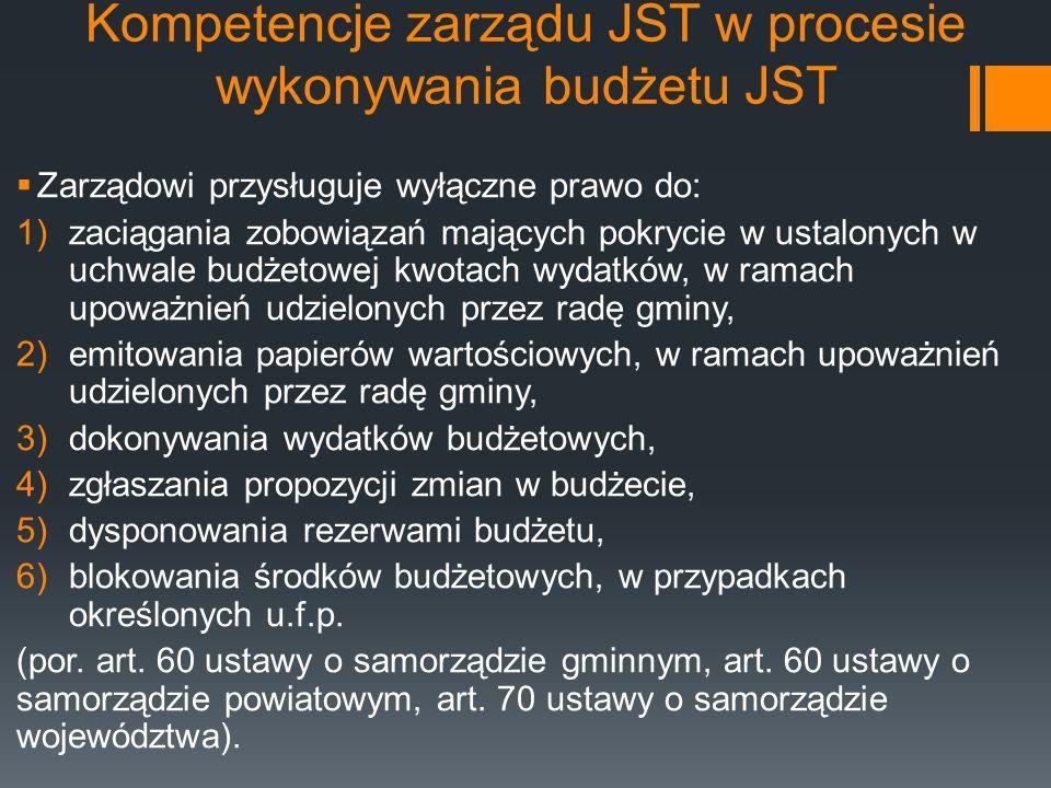Kompetencje zarządu JST w procesie wykonywania budżetu JST