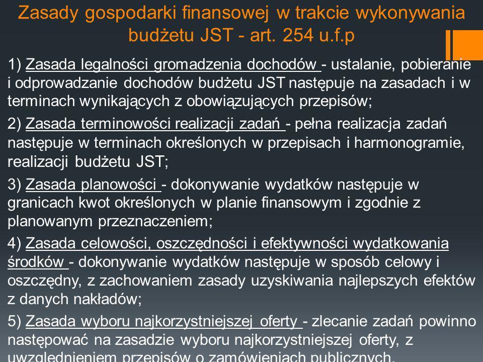 Zasady gospodarki finansowej w trakcie wykonywania budżetu JST - art