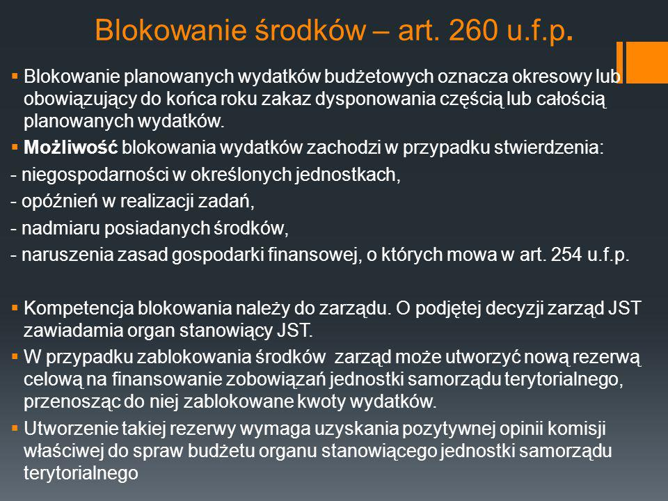 Blokowanie środków – art. 260 u.f.p.