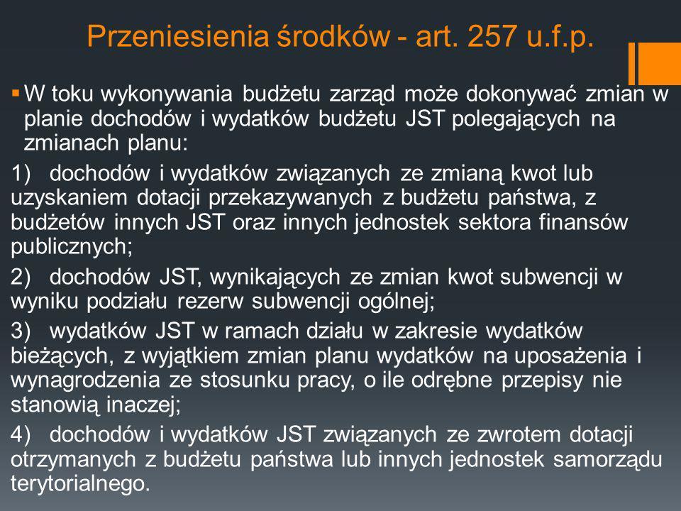 Przeniesienia środków - art. 257 u.f.p.