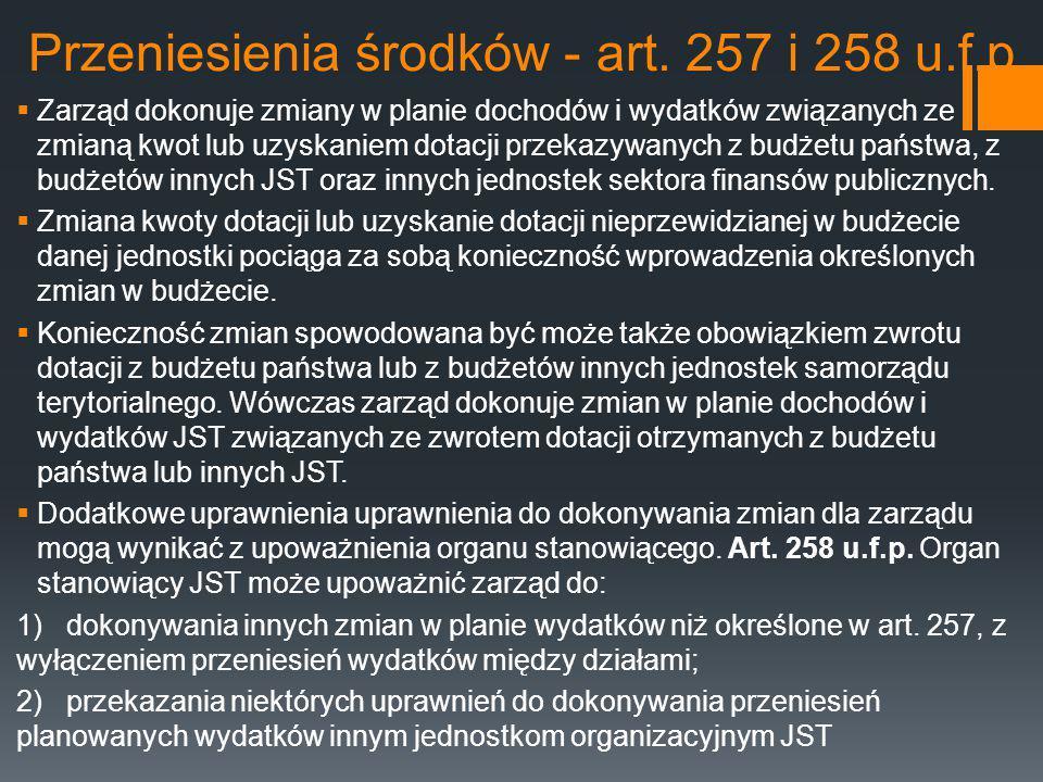 Przeniesienia środków - art. 257 i 258 u.f.p