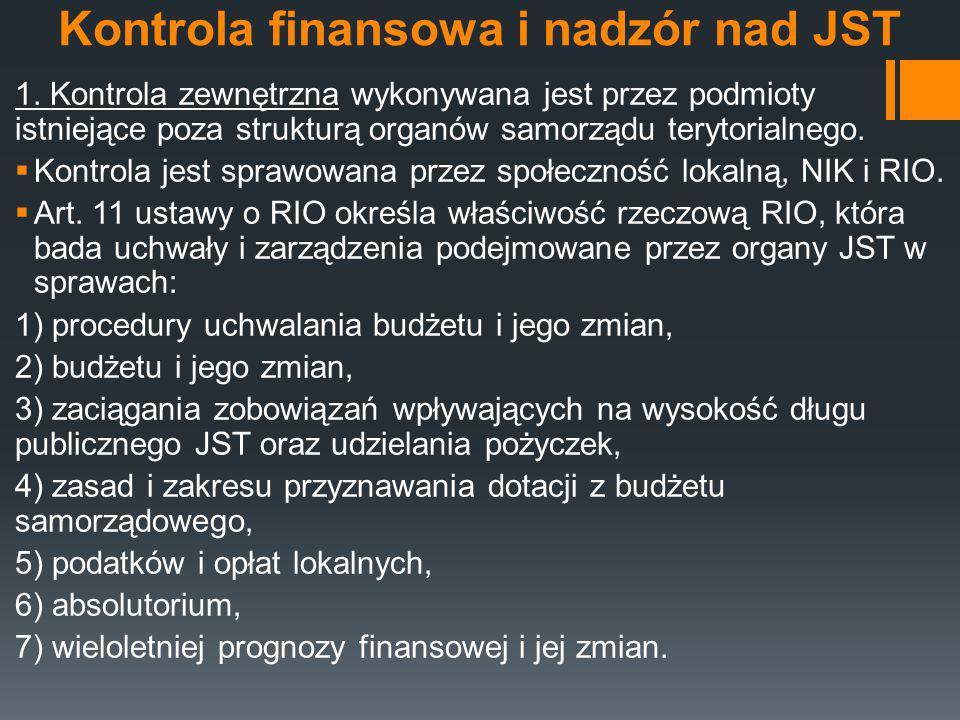 Kontrola finansowa i nadzór nad JST