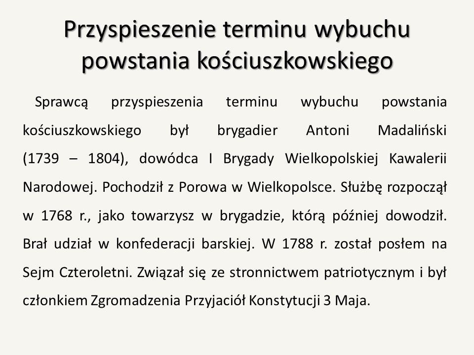 Przyspieszenie terminu wybuchu powstania kościuszkowskiego