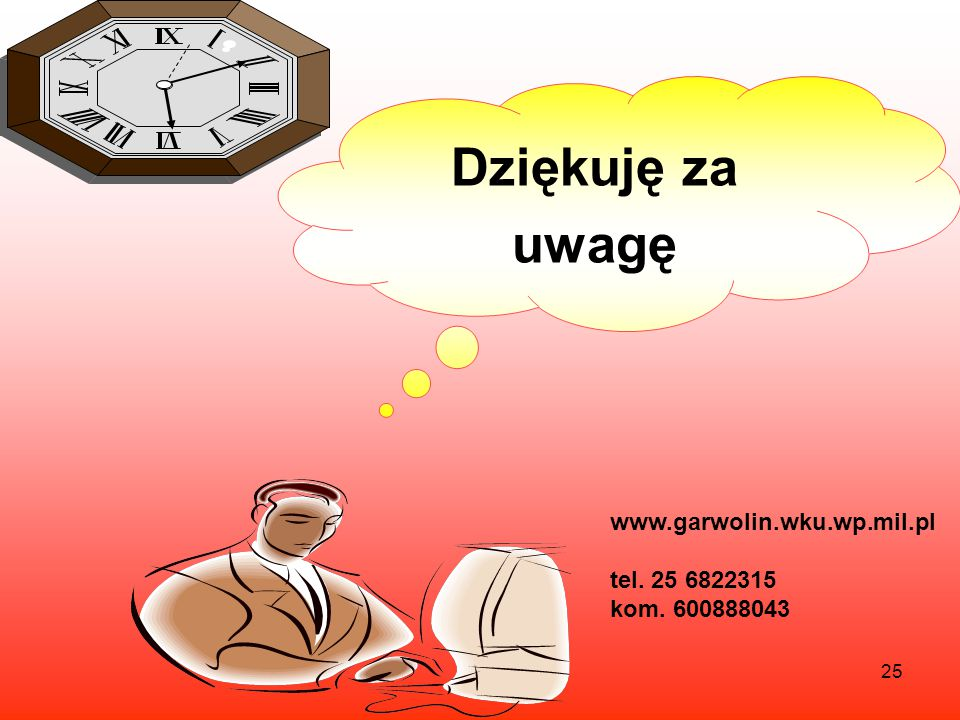 Dziękuję za uwagę www.garwolin.wku.wp.mil.pl tel. 25 6822315