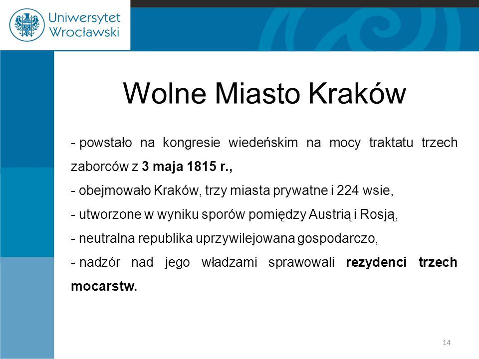 Wolne Miasto Kraków powstało na kongresie wiedeńskim na mocy traktatu trzech zaborców z 3 maja 1815 r.,