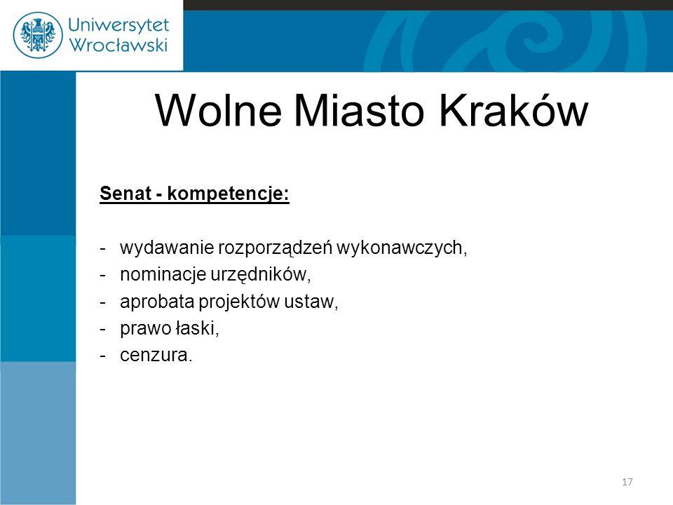 Wolne Miasto Kraków Senat - kompetencje: