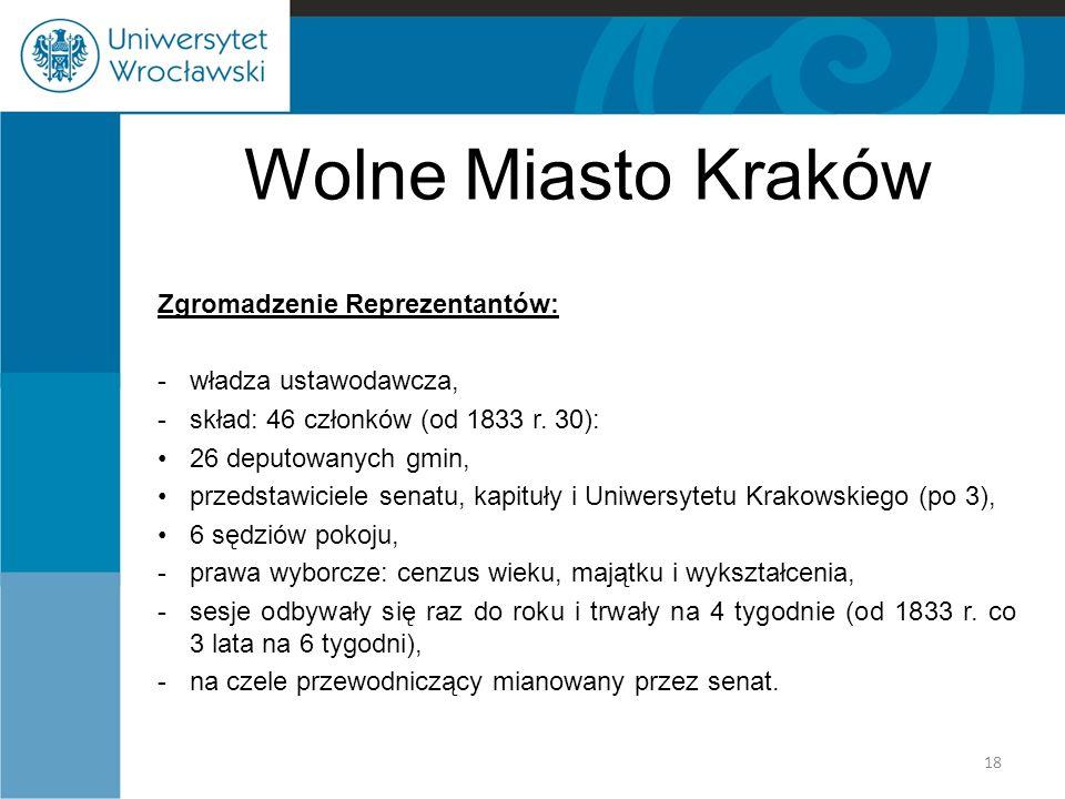 Wolne Miasto Kraków Zgromadzenie Reprezentantów: władza ustawodawcza,