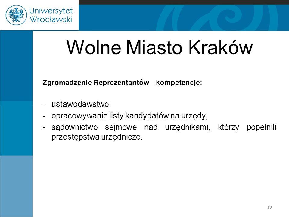 Wolne Miasto Kraków ustawodawstwo,
