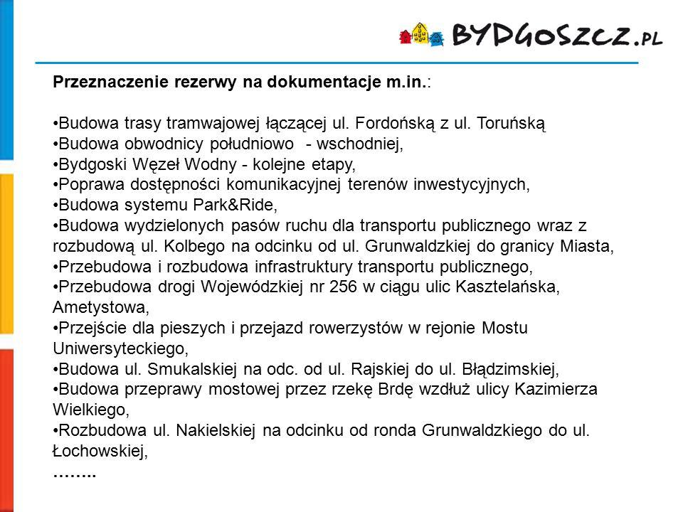 Przeznaczenie rezerwy na dokumentacje m.in.: