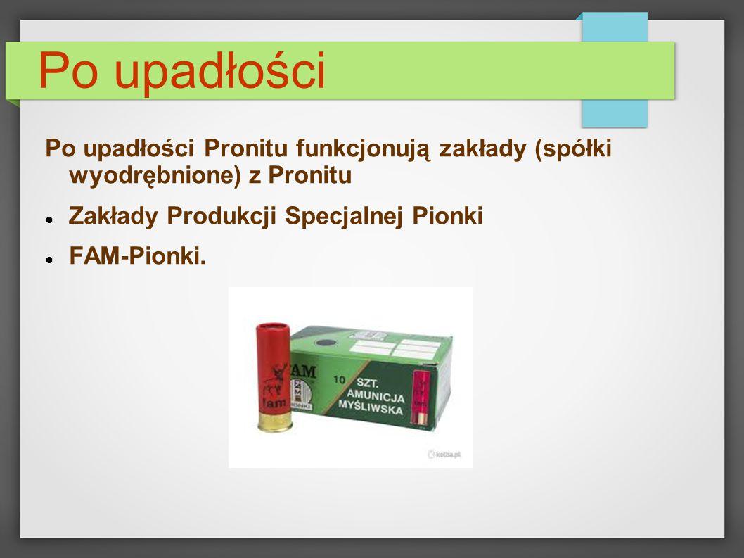 Po upadłości Po upadłości Pronitu funkcjonują zakłady (spółki wyodrębnione) z Pronitu. Zakłady Produkcji Specjalnej Pionki.