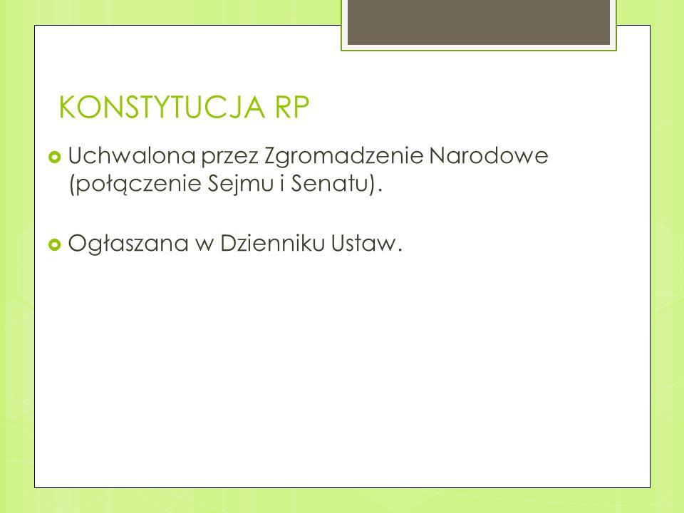 KONSTYTUCJA RP Uchwalona przez Zgromadzenie Narodowe (połączenie Sejmu i Senatu).