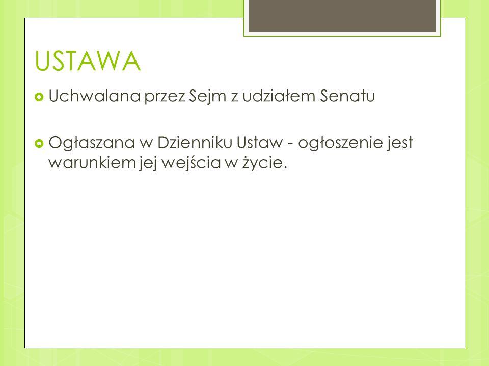 USTAWA Uchwalana przez Sejm z udziałem Senatu