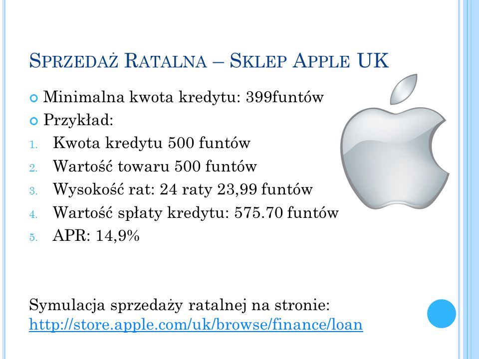 Sprzedaż Ratalna – Sklep Apple UK