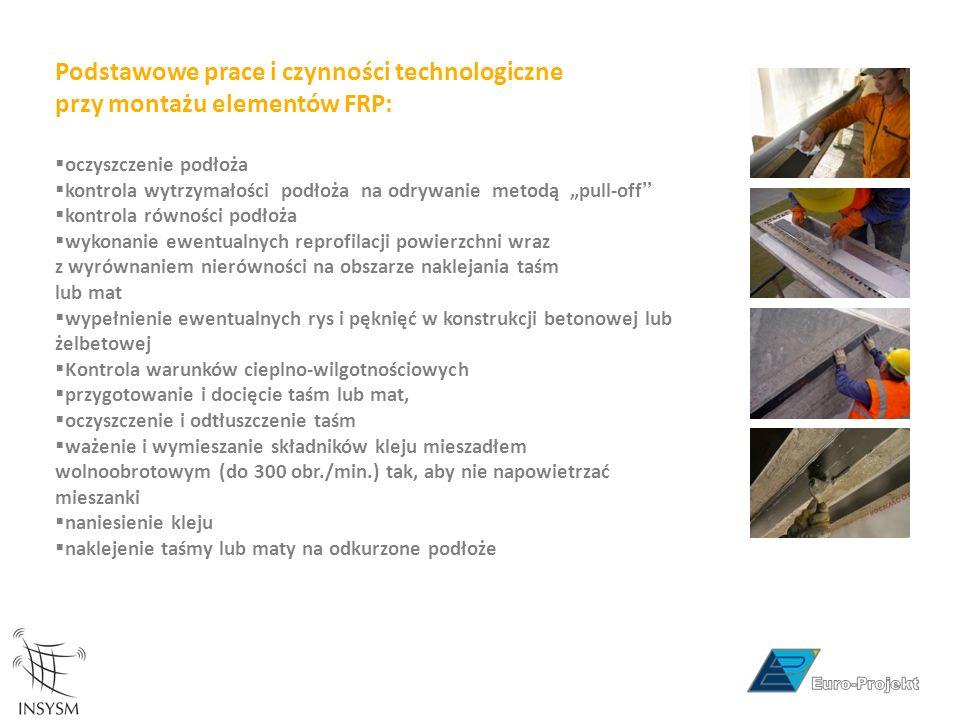 Podstawowe prace i czynności technologiczne przy montażu elementów FRP: