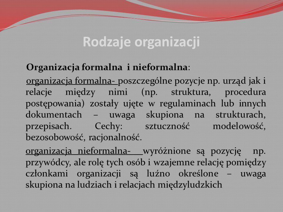 Rodzaje organizacji Organizacja formalna i nieformalna: