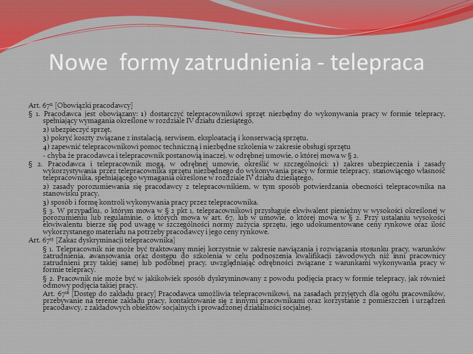 Nowe formy zatrudnienia - telepraca