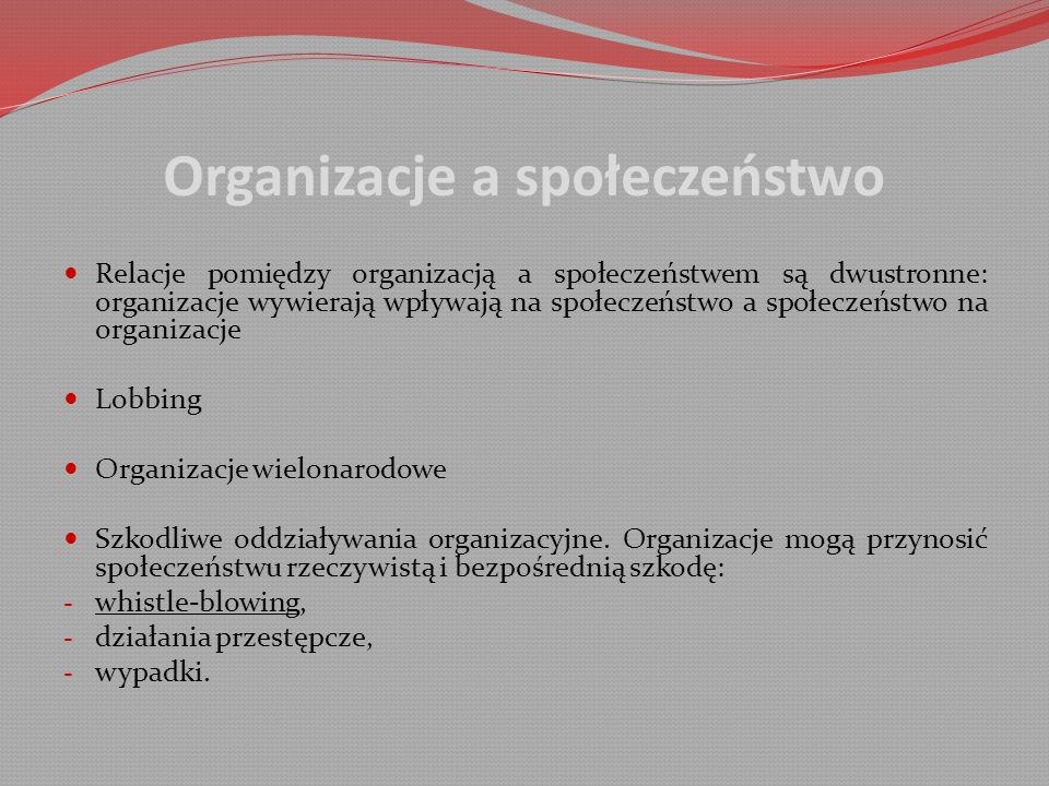 Organizacje a społeczeństwo
